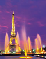 eiffel tower purple fountains